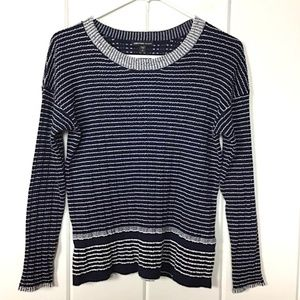 James Perse Navy / White Striped Wool Sweater - 2